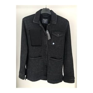 A&F Fleece Shirt Jacket Washed Black